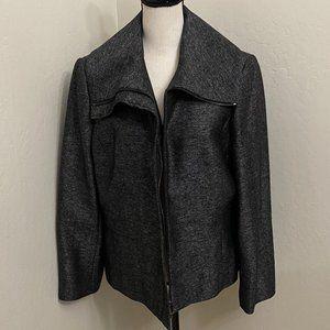Anne Klein Wool Blend Zip Up Jacket Coat Lg Collar